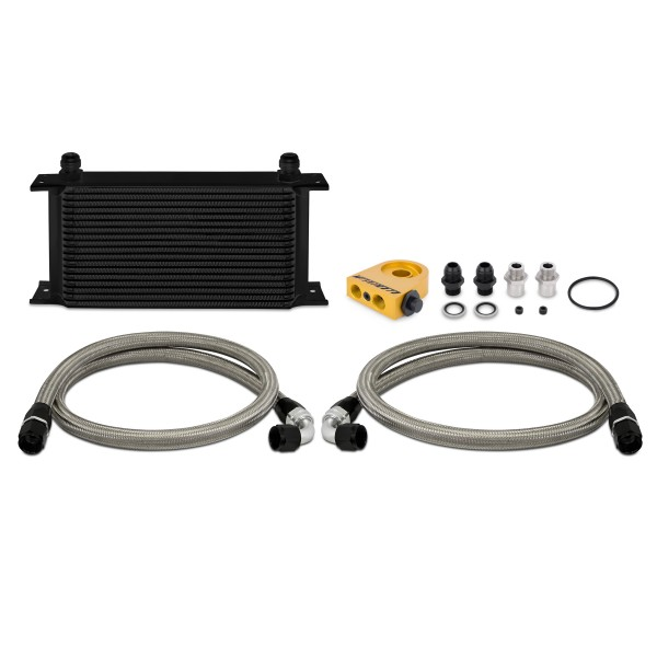 Universal Thermostatic 19 Row Oil Cooler Kit, Black